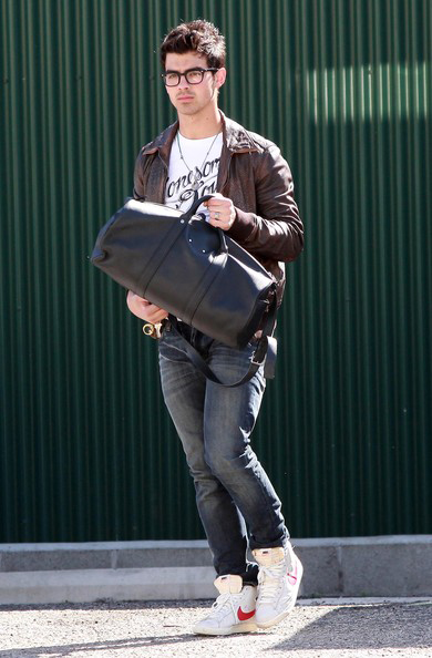 Joe Jonas in wayfarer style sunglasses