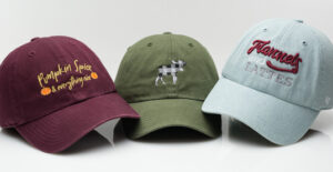 Custom logos and text on multiple hats